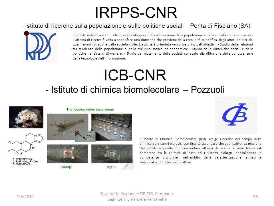 IRPPS-CNR - istituto di ricerche sulla popolazione e sulle politiche sociali – Penta di Fisciano (SA)