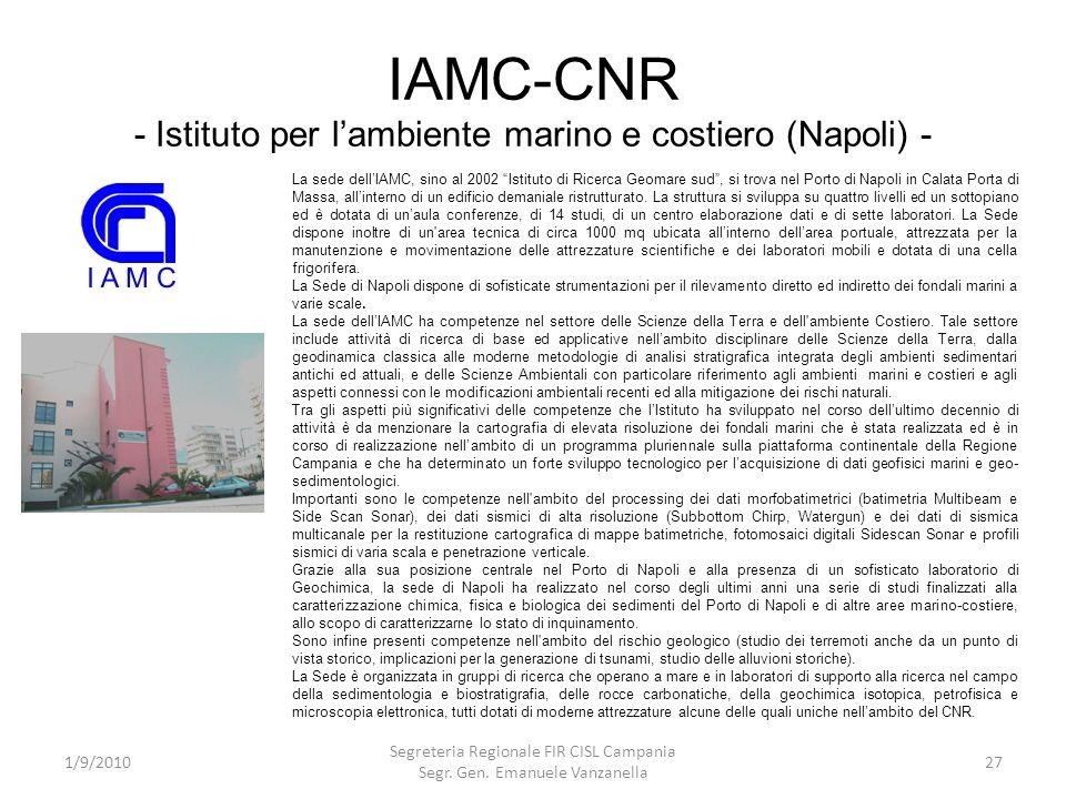 IAMC-CNR - Istituto per l'ambiente marino e costiero (Napoli) -