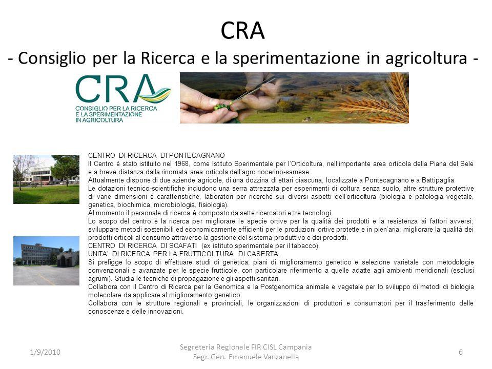 CRA - Consiglio per la Ricerca e la sperimentazione in agricoltura -