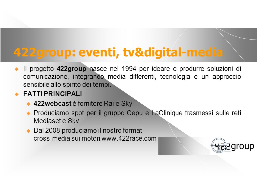 422group: eventi, tv&digital-media