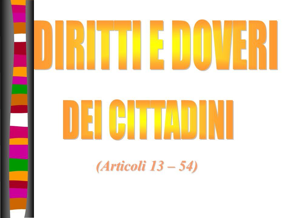 DIRITTI E DOVERI DEI CITTADINI (Articoli 13 – 54)