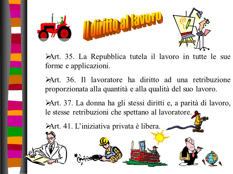 Il diritto al lavoro Art. 35. La Repubblica tutela il lavoro in tutte le sue forme e applicazioni.