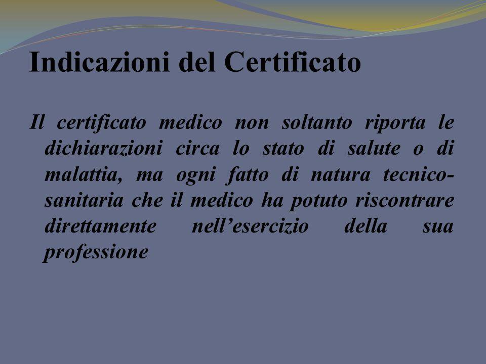 Indicazioni del Certificato