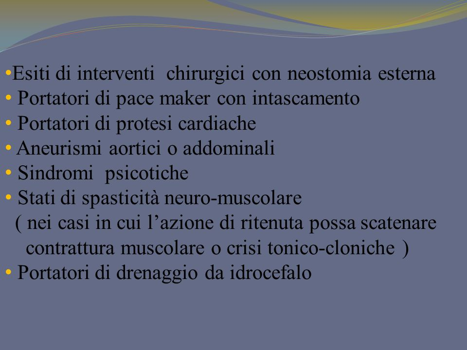 Esiti di interventi chirurgici con neostomia esterna