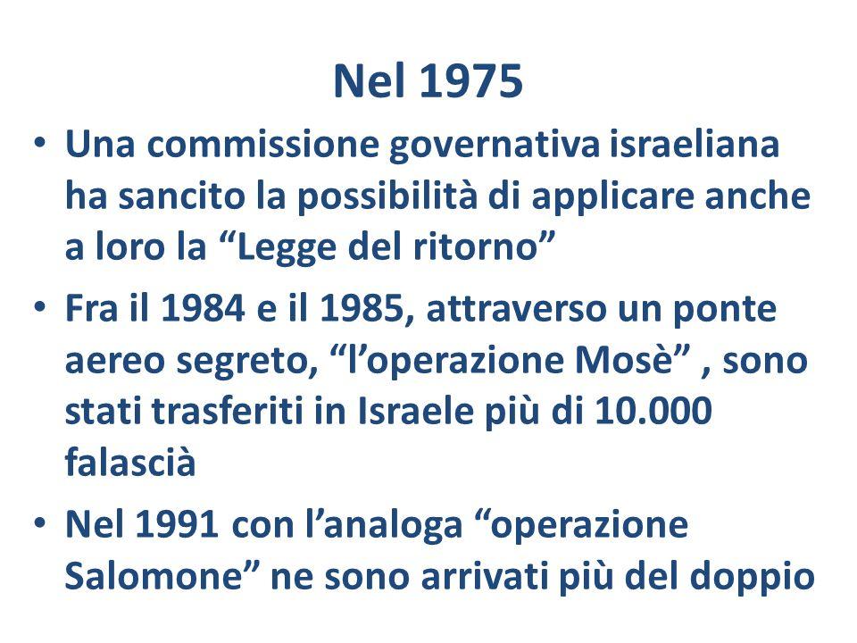 Nel 1975 Una commissione governativa israeliana ha sancito la possibilità di applicare anche a loro la Legge del ritorno