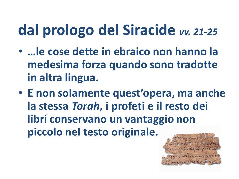dal prologo del Siracide vv. 21-25
