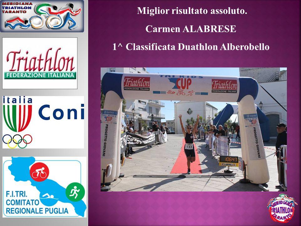Miglior risultato assoluto. 1^ Classificata Duathlon Alberobello