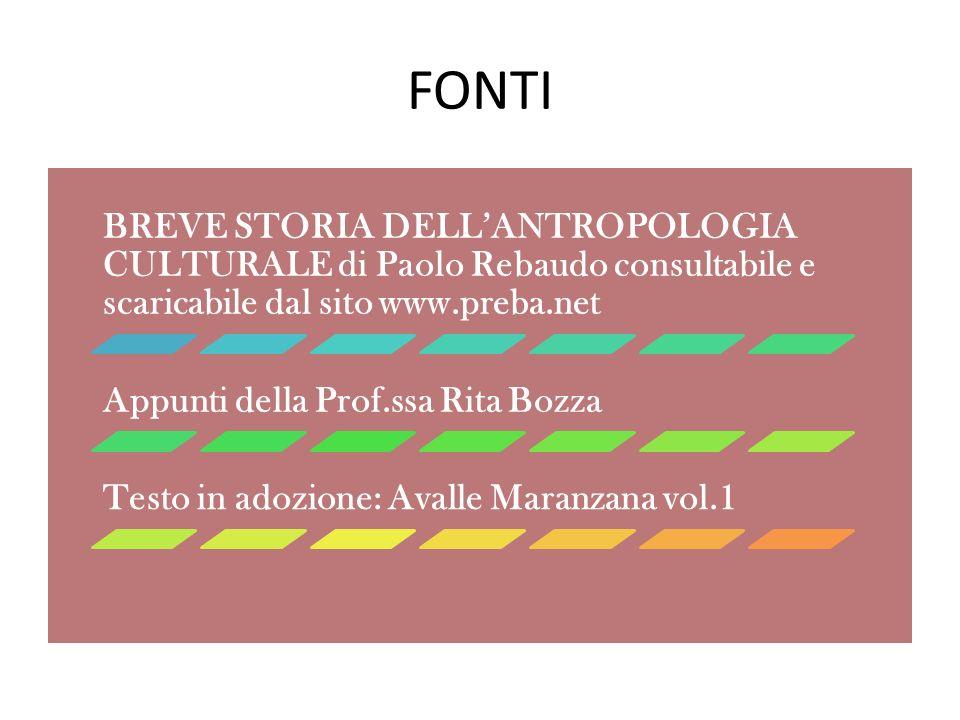 FONTI BREVE STORIA DELL'ANTROPOLOGIA CULTURALE di Paolo Rebaudo consultabile e scaricabile dal sito www.preba.net.