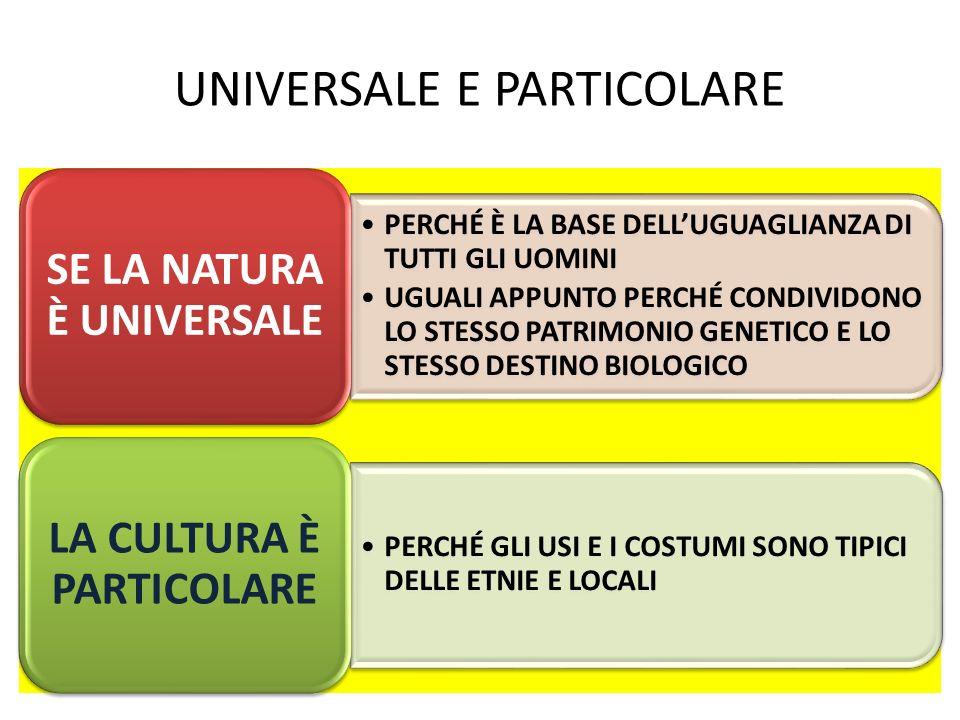 UNIVERSALE E PARTICOLARE