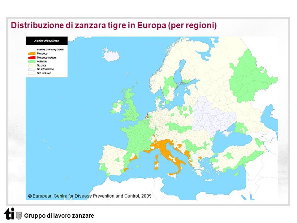 Distribuzione di zanzara tigre in Europa (per regioni)