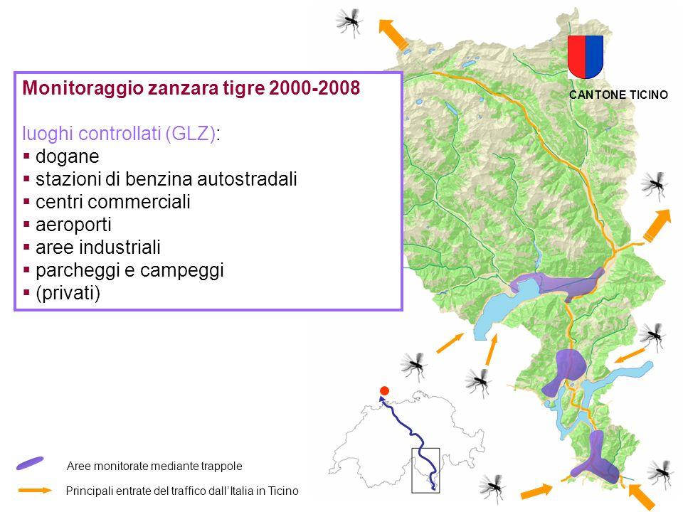 Monitoraggio zanzara tigre 2000-2008 luoghi controllati (GLZ): dogane