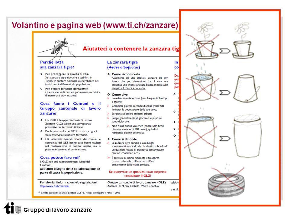 Volantino e pagina web (www.ti.ch/zanzare)