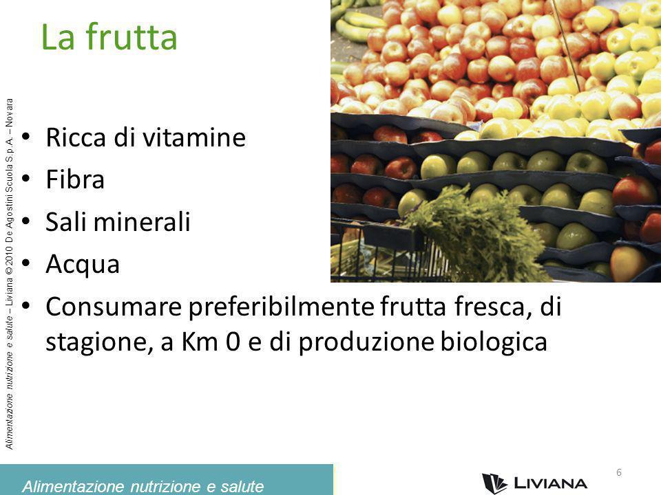 La frutta Ricca di vitamine Fibra Sali minerali Acqua