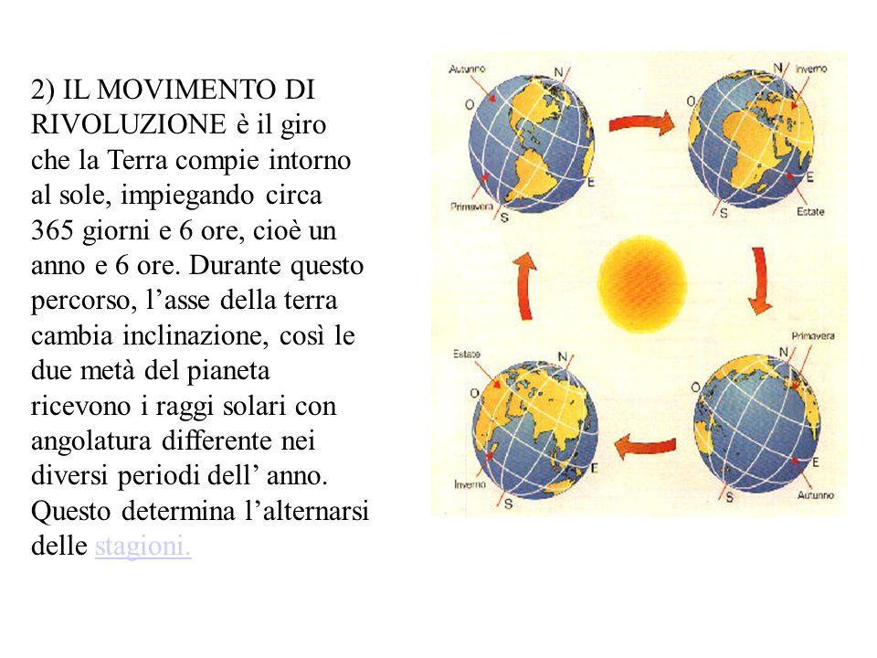 2) IL MOVIMENTO DI RIVOLUZIONE è il giro che la Terra compie intorno al sole, impiegando circa 365 giorni e 6 ore, cioè un anno e 6 ore.