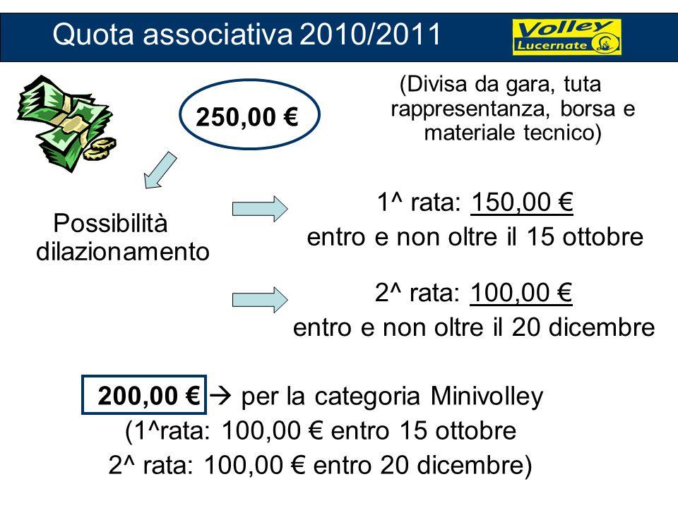 Quota associativa 2010/2011 250,00 € 1^ rata: 150,00 €