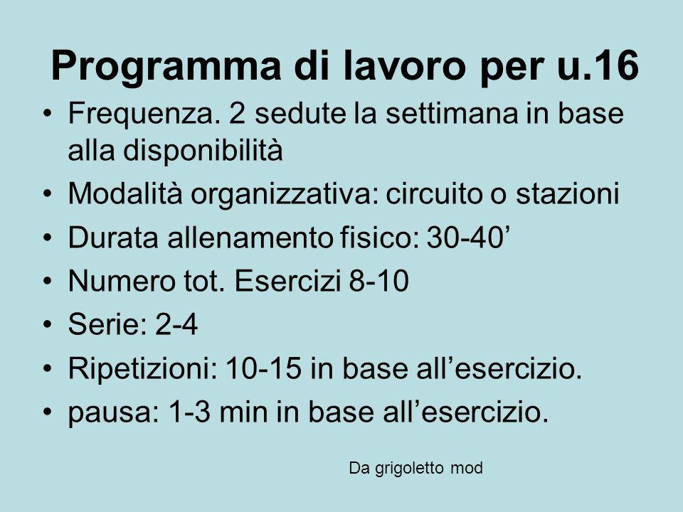 Programma di lavoro per u.16