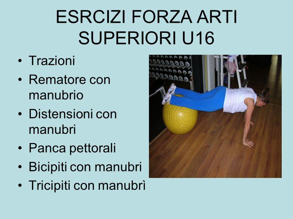 ESRCIZI FORZA ARTI SUPERIORI U16