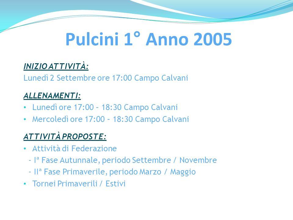Pulcini 1° Anno 2005 INIZIO ATTIVITÀ: