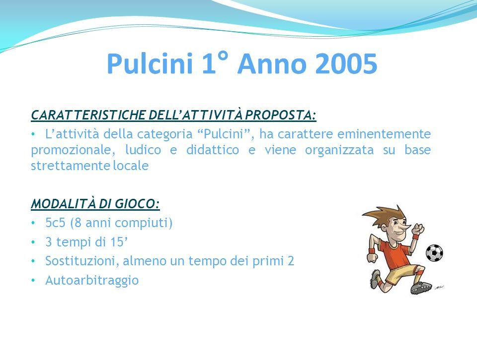 Pulcini 1° Anno 2005 CARATTERISTICHE DELL'ATTIVITÀ PROPOSTA: