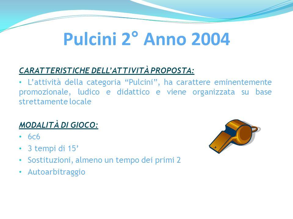 Pulcini 2° Anno 2004 CARATTERISTICHE DELL'ATTIVITÀ PROPOSTA: