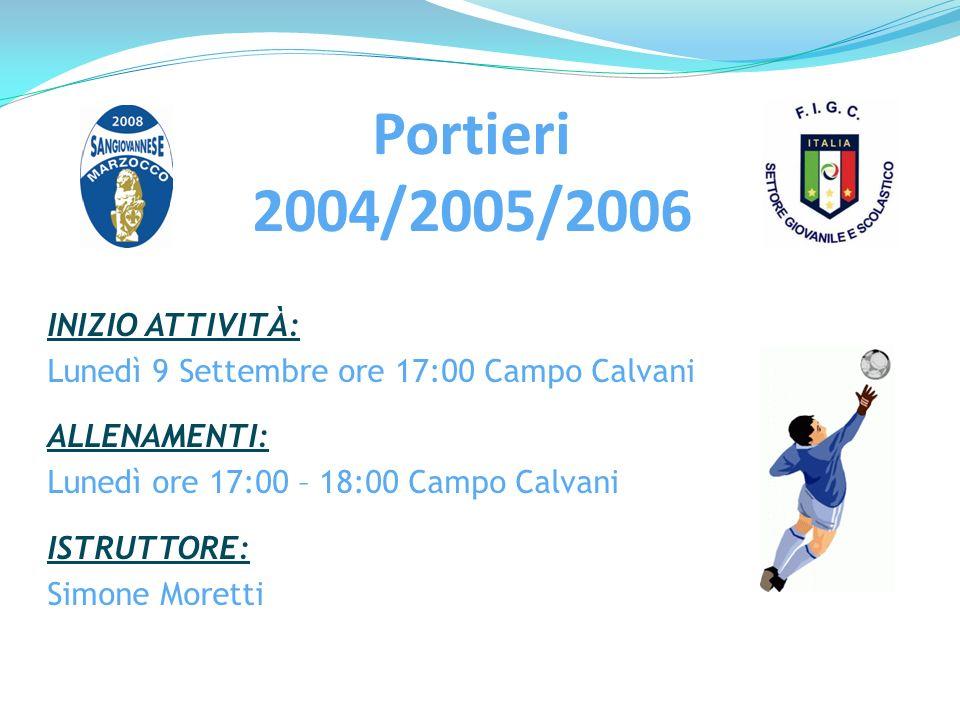 Portieri 2004/2005/2006 INIZIO ATTIVITÀ: