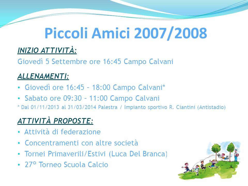 Piccoli Amici 2007/2008 INIZIO ATTIVITÀ: