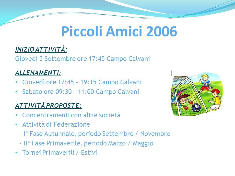 Piccoli Amici 2006 INIZIO ATTIVITÀ: