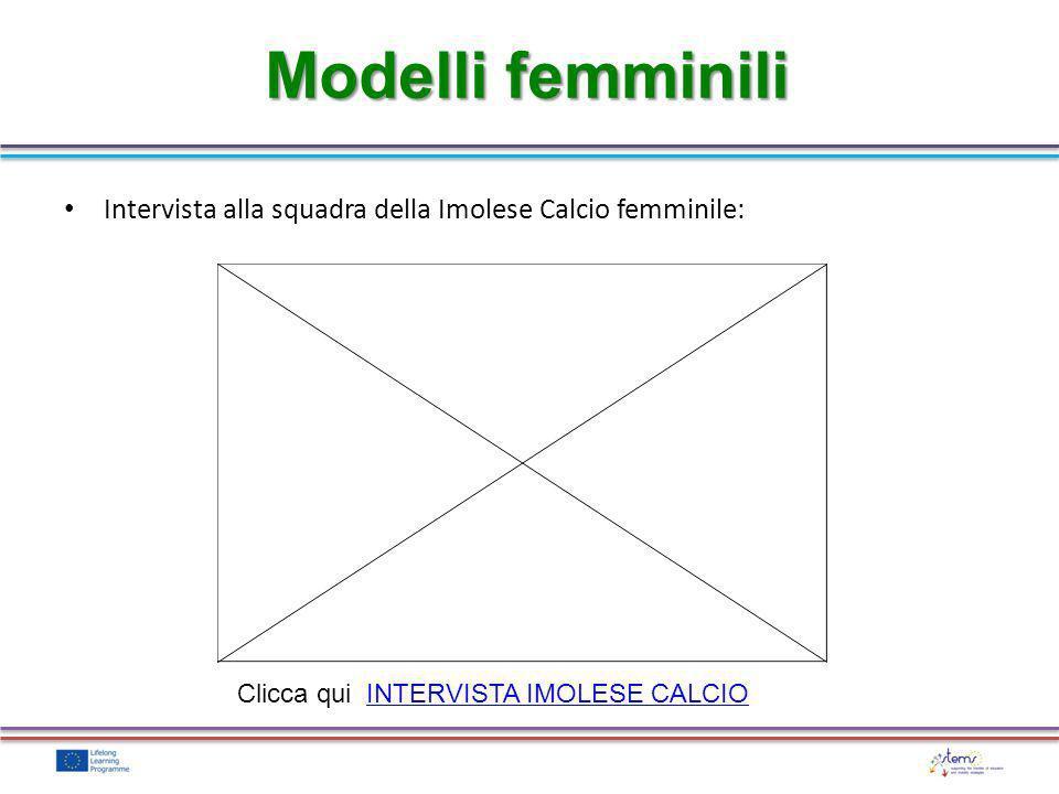 Modelli femminili Intervista alla squadra della Imolese Calcio femminile: Clicca qui INTERVISTA IMOLESE CALCIO.