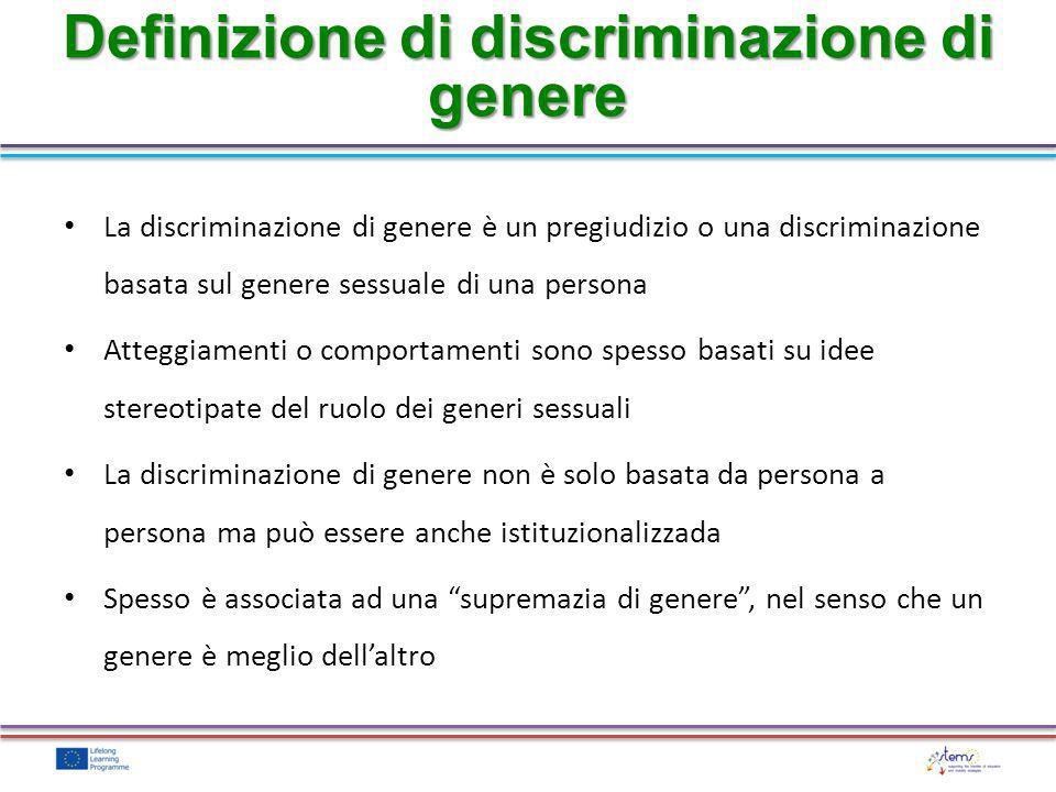 Definizione di discriminazione di genere
