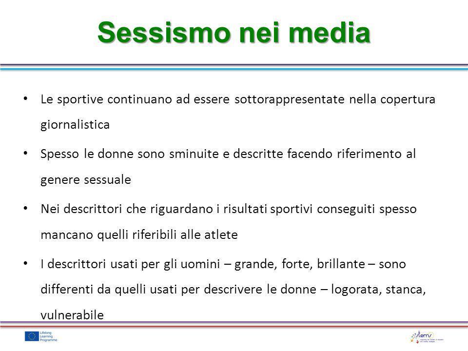 Sessismo nei media Le sportive continuano ad essere sottorappresentate nella copertura giornalistica.