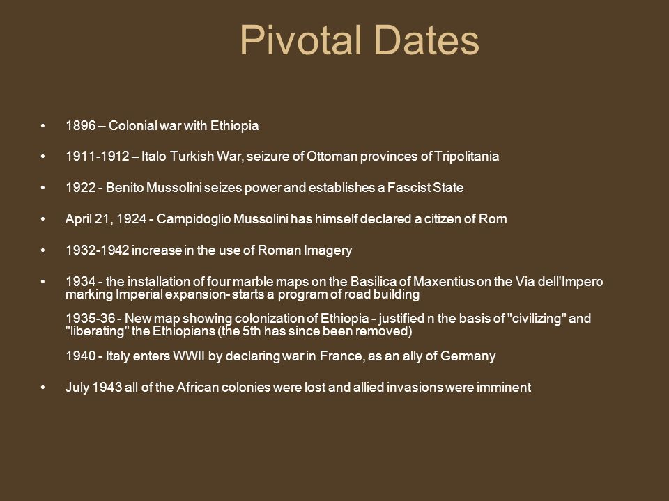 Pivotal Dates 1896 – Colonial war with Ethiopia