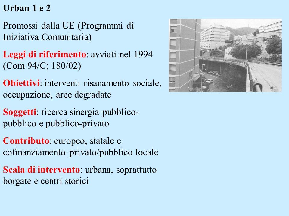 Urban 1 e 2 Promossi dalla UE (Programmi di Iniziativa Comunitaria) Leggi di riferimento: avviati nel 1994 (Com 94/C; 180/02)