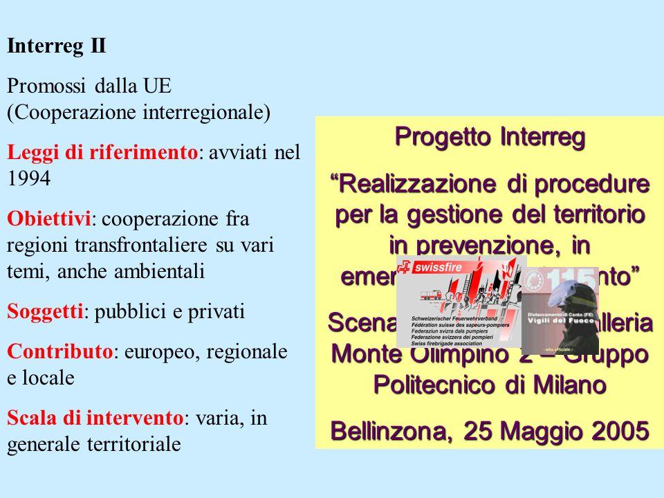 Interreg II Promossi dalla UE (Cooperazione interregionale) Leggi di riferimento: avviati nel 1994.
