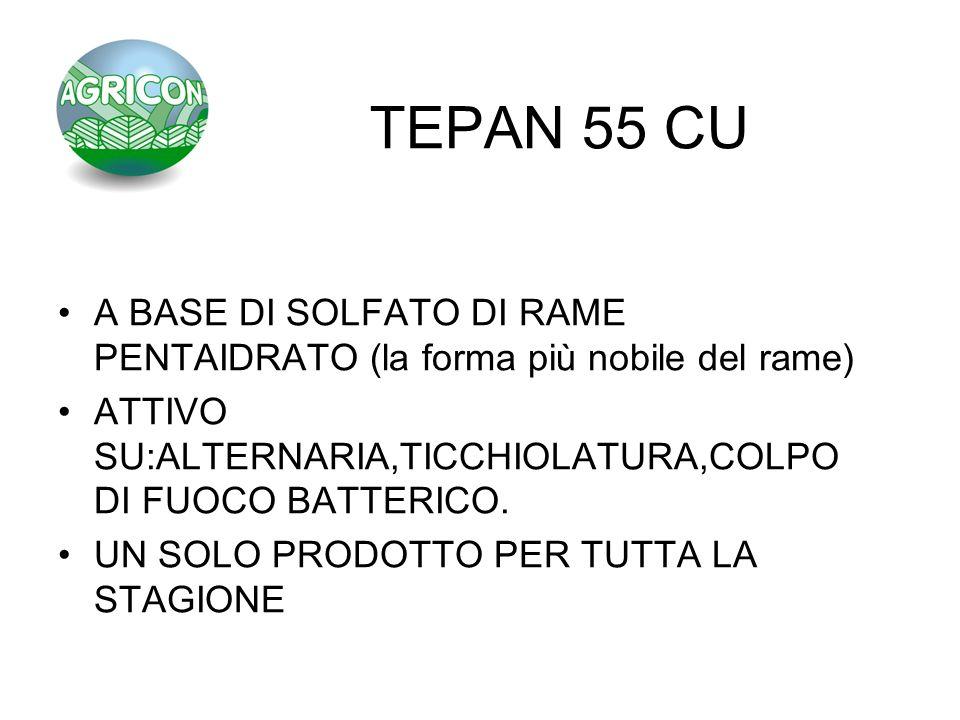 TEPAN 55 CU A BASE DI SOLFATO DI RAME PENTAIDRATO (la forma più nobile del rame) ATTIVO SU:ALTERNARIA,TICCHIOLATURA,COLPO DI FUOCO BATTERICO.