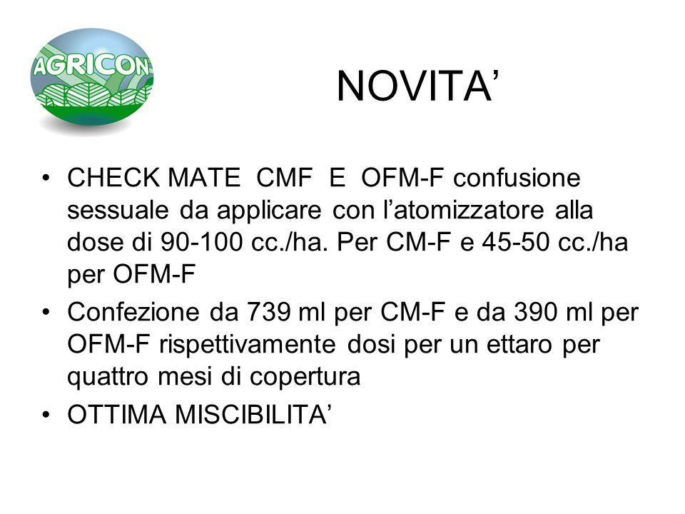 NOVITA' CHECK MATE CMF E OFM-F confusione sessuale da applicare con l'atomizzatore alla dose di 90-100 cc./ha. Per CM-F e 45-50 cc./ha per OFM-F.