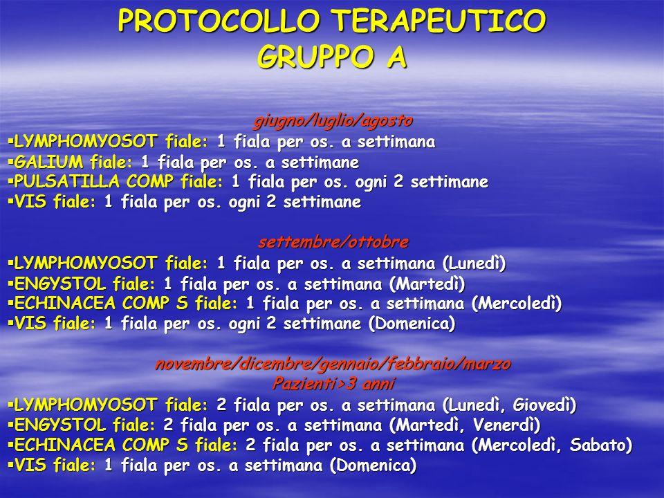 PROTOCOLLO TERAPEUTICO GRUPPO A