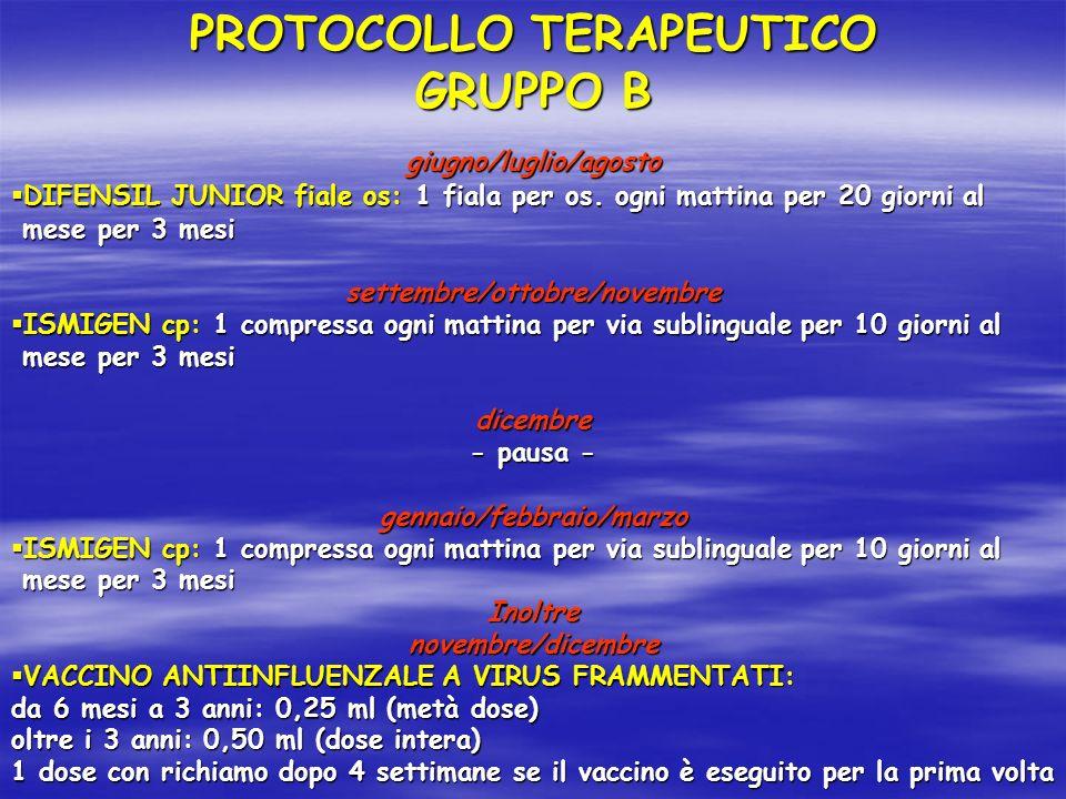 PROTOCOLLO TERAPEUTICO GRUPPO B