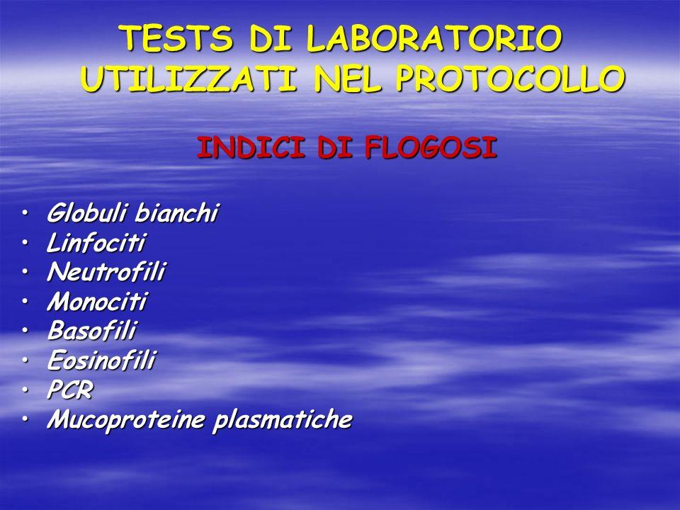 TESTS DI LABORATORIO UTILIZZATI NEL PROTOCOLLO