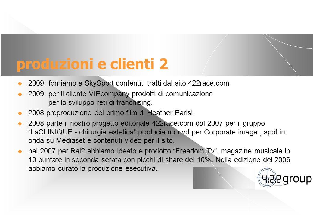 produzioni e clienti 2 2009: forniamo a SkySport contenuti tratti dal sito 422race.com.