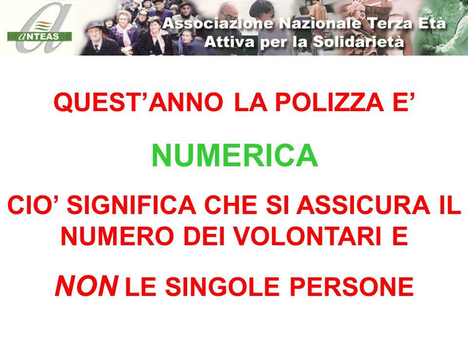 NUMERICA NON LE SINGOLE PERSONE QUEST'ANNO LA POLIZZA E'