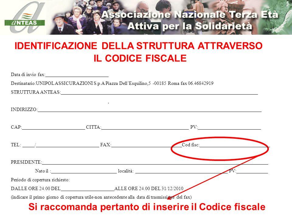 IDENTIFICAZIONE DELLA STRUTTURA ATTRAVERSO IL CODICE FISCALE
