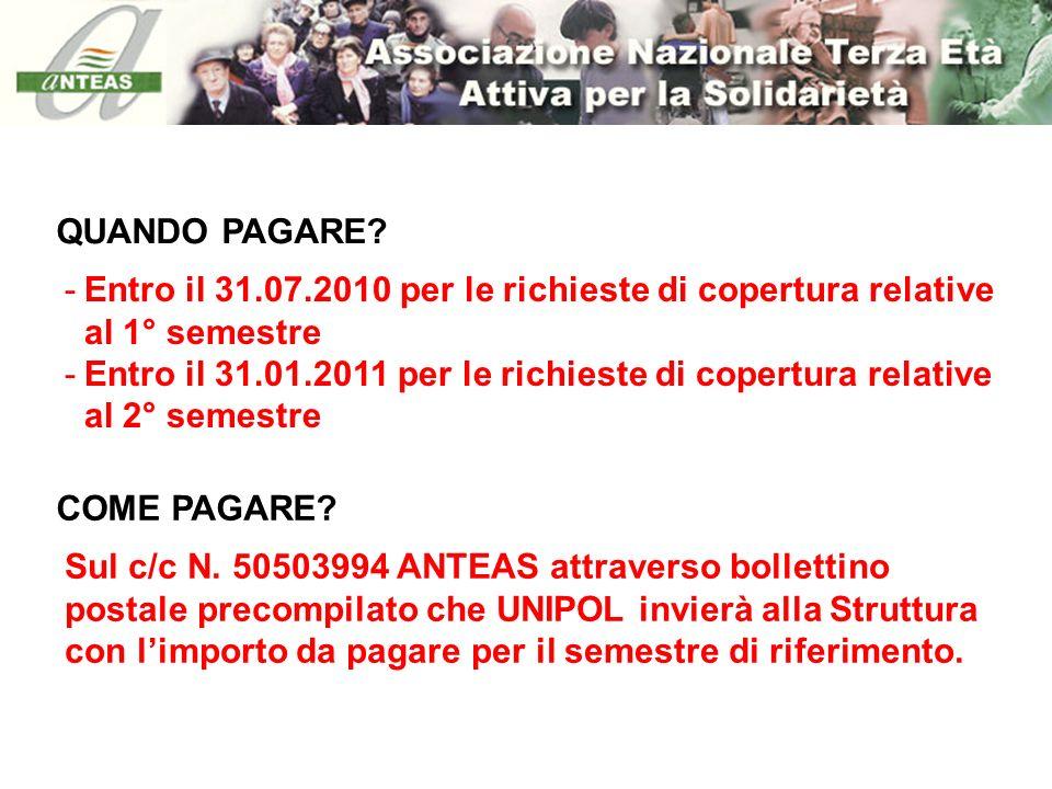 QUANDO PAGARE Entro il 31.07.2010 per le richieste di copertura relative al 1° semestre.
