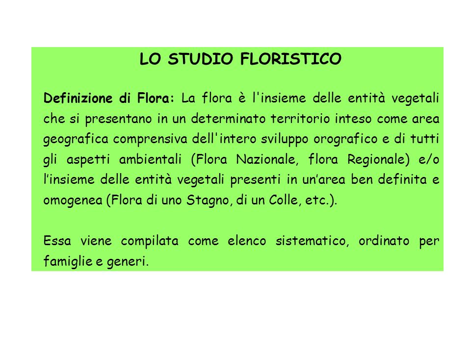 LO STUDIO FLORISTICO