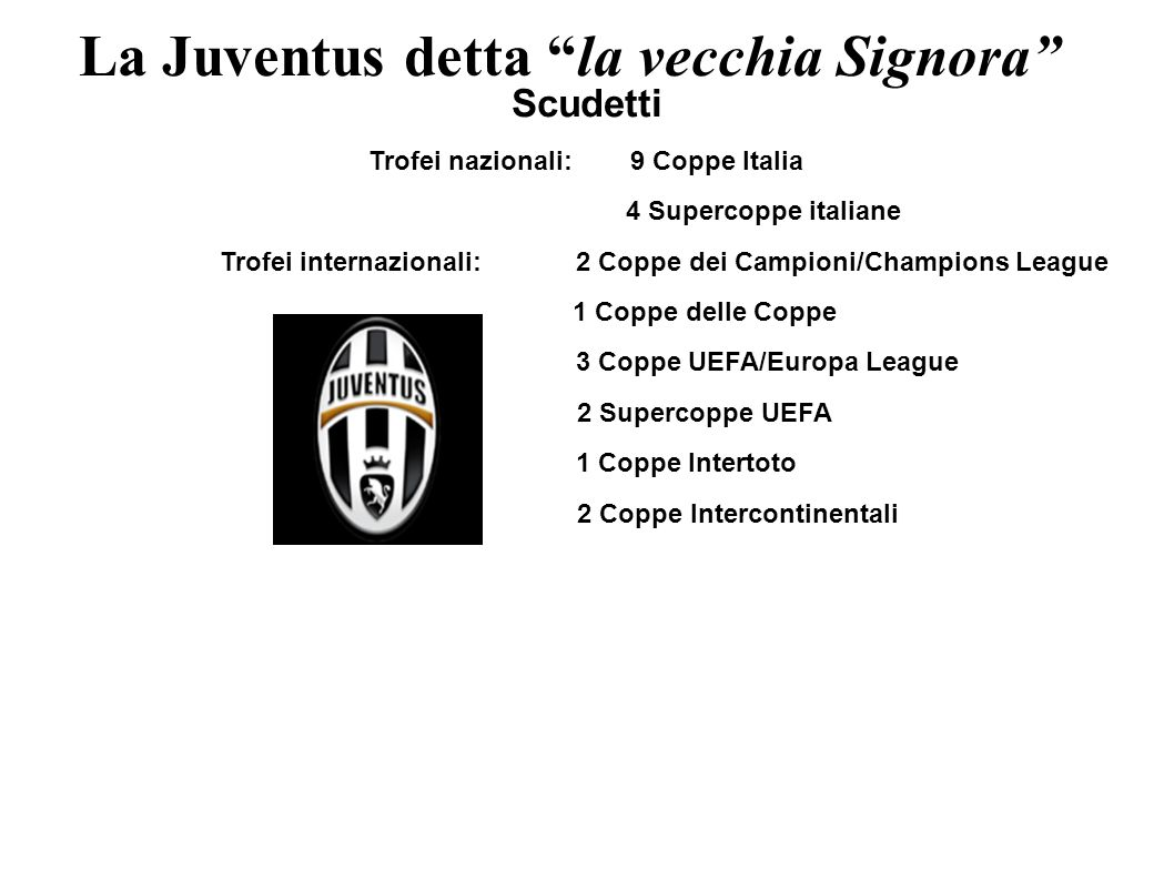 La Juventus detta la vecchia Signora
