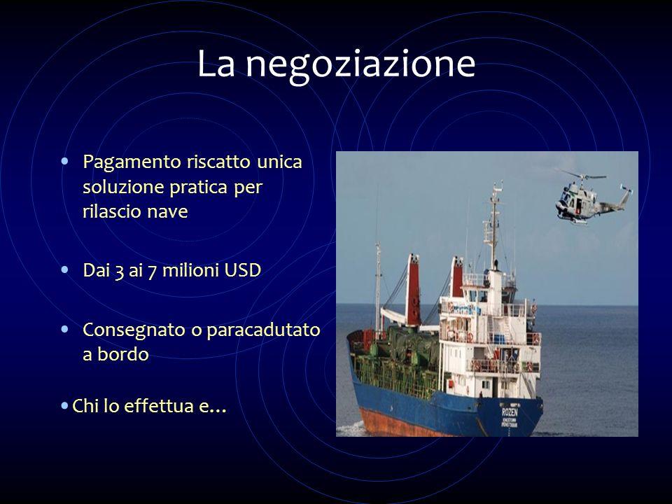 La negoziazione Pagamento riscatto unica soluzione pratica per rilascio nave. Dai 3 ai 7 milioni USD.