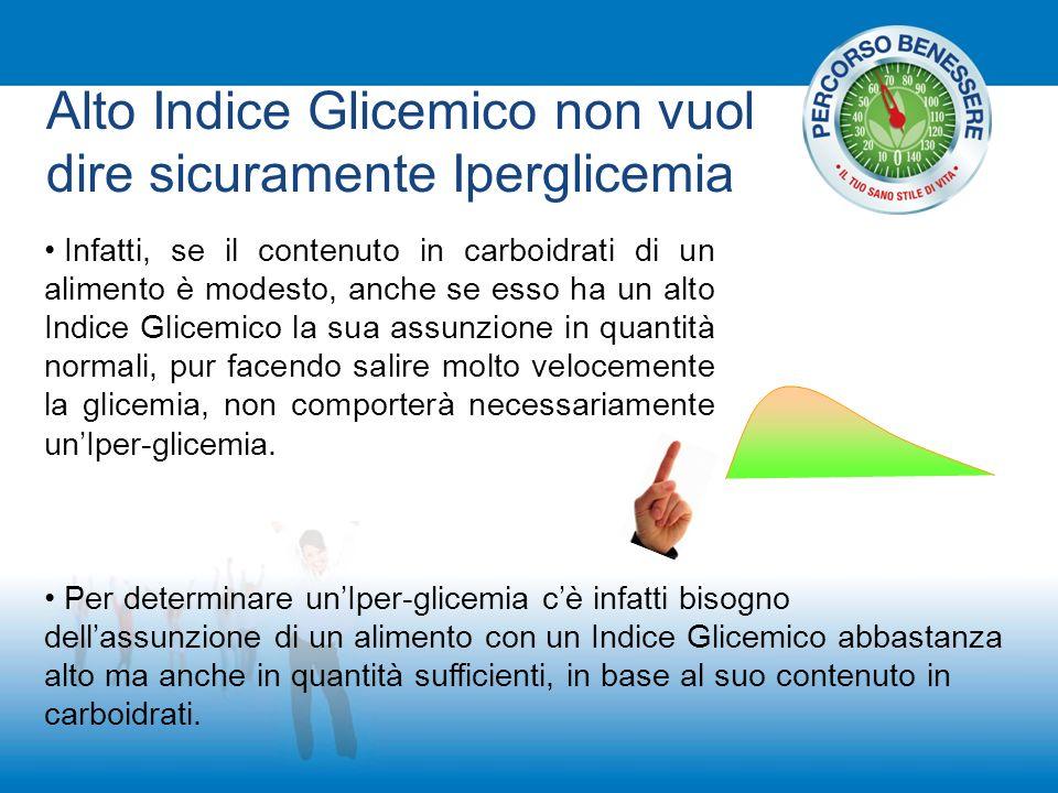 Alto Indice Glicemico non vuol dire sicuramente Iperglicemia