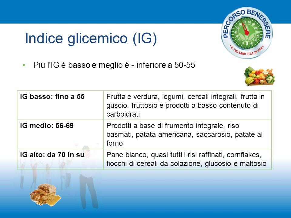 Indice glicemico (IG) Più l IG è basso e meglio è - inferiore a 50-55