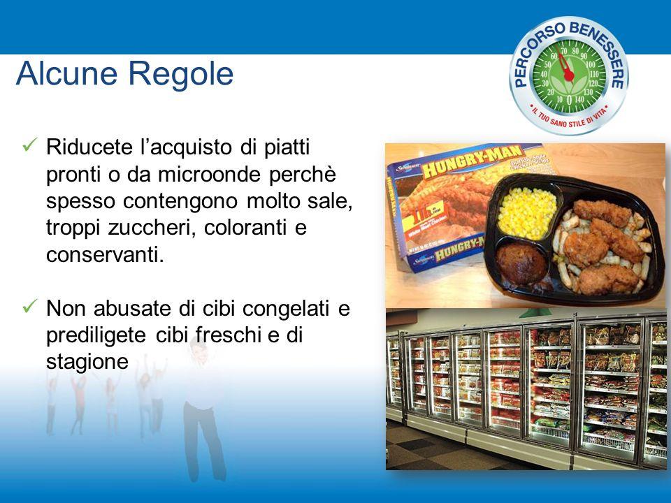 Alcune Regole Riducete l'acquisto di piatti pronti o da microonde perchè spesso contengono molto sale, troppi zuccheri, coloranti e conservanti.
