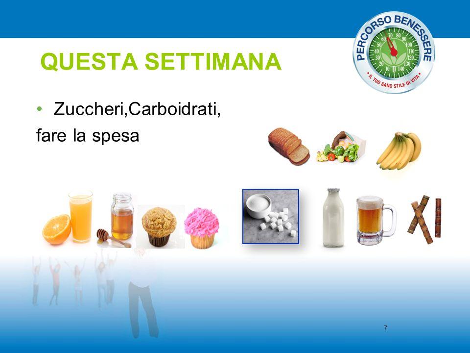QUESTA SETTIMANA Zuccheri,Carboidrati, fare la spesa 7