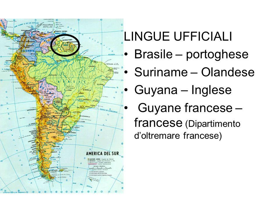 LINGUE UFFICIALIBrasile – portoghese.Suriname – Olandese.